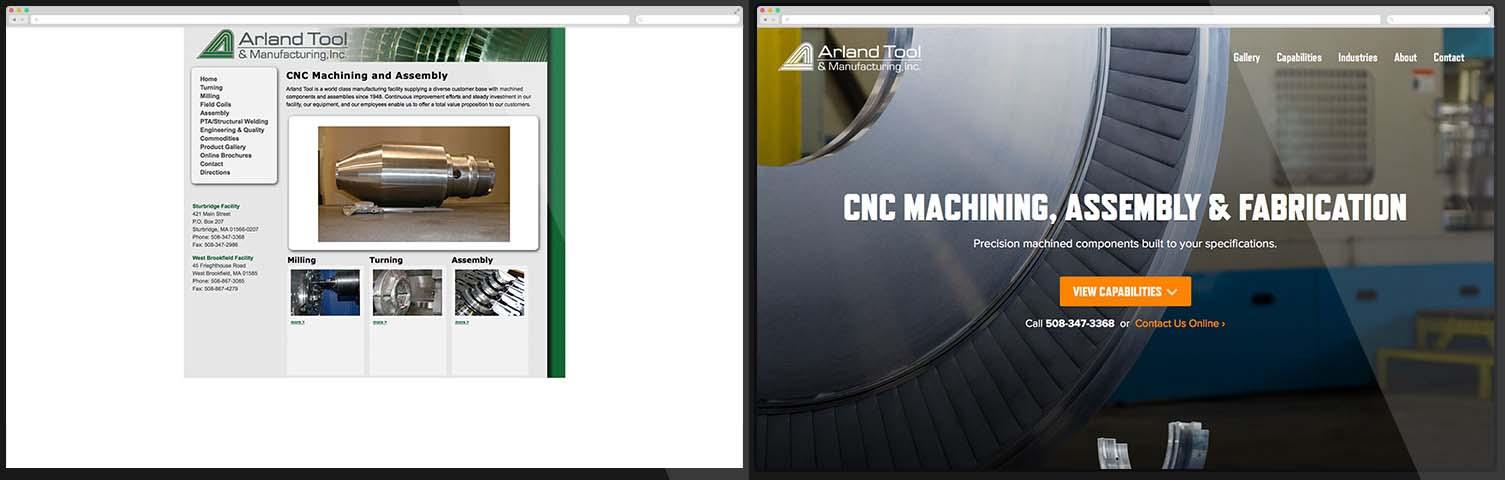 Website arland tool trước và sau khi thiết kế lại