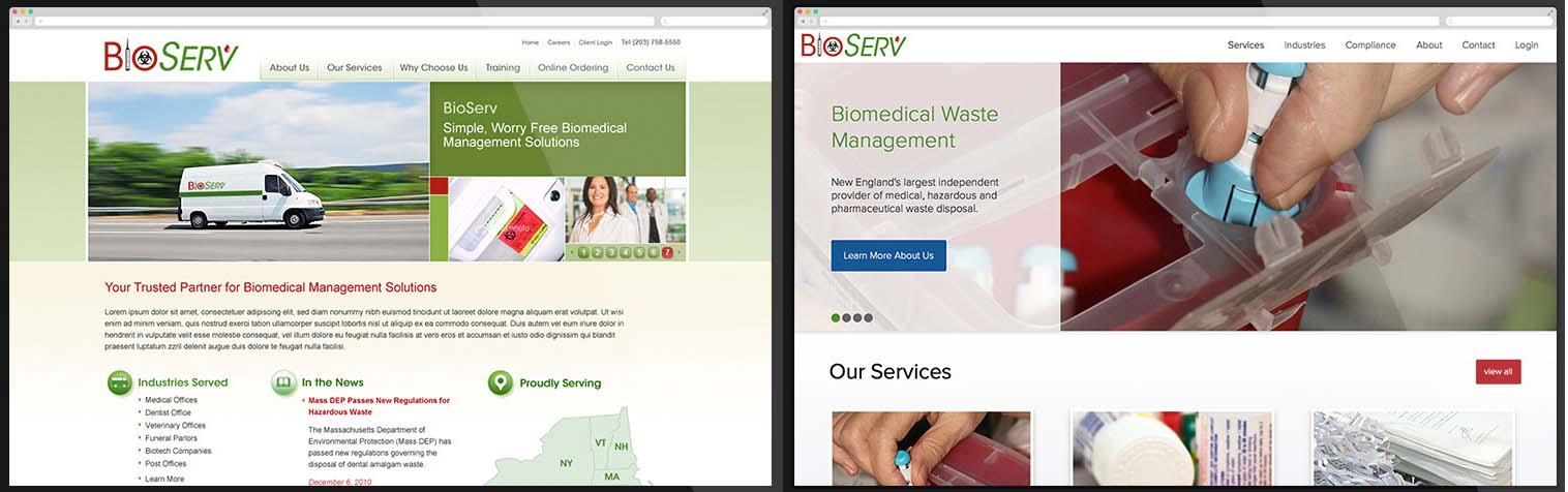 Website BioServ trước và sau khi được thiết kế lại